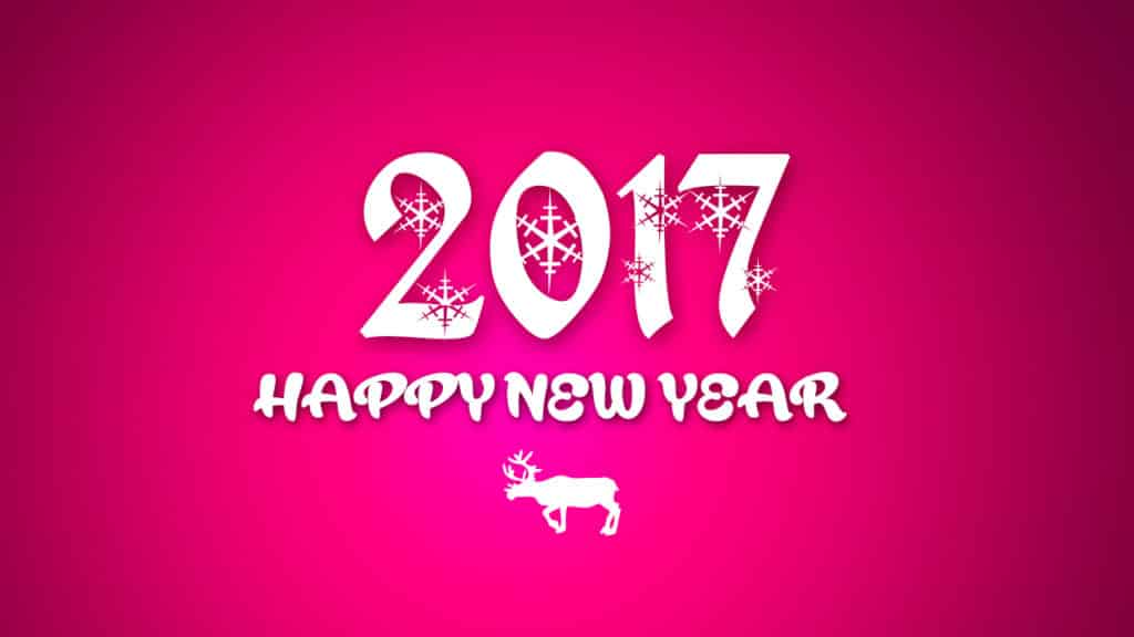 Happy New Year 2017 with pink background and reindeer