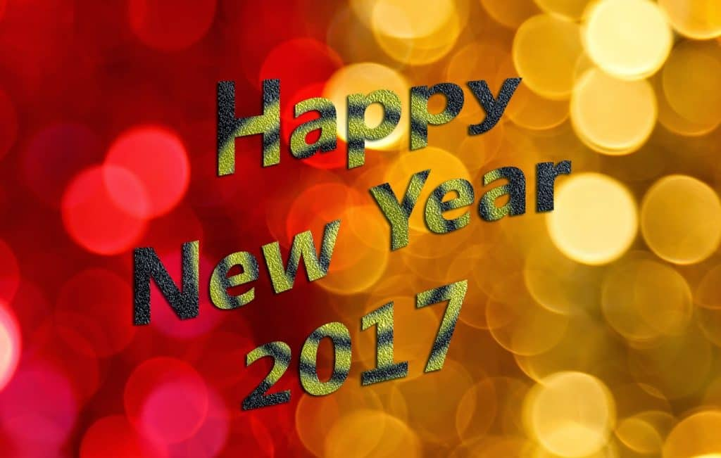 Happy New Year 2017 with red and yellow background