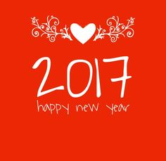 Happy New Year 2017 with red background and a heart