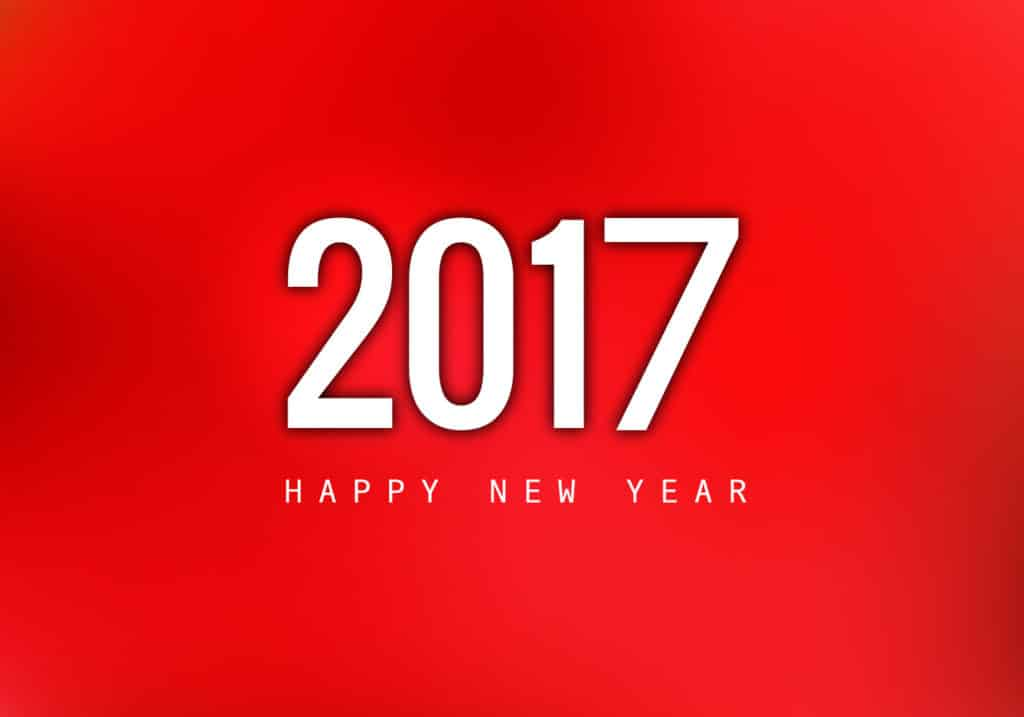 Happy New Year 2017 with red background