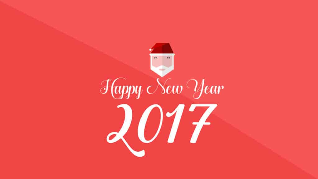 Happy New Year 2017 with santa face