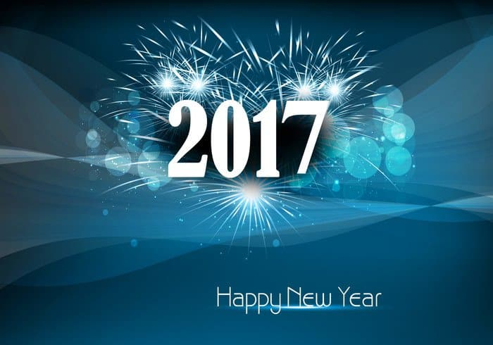 Happy New Year 2017 with shining crackers