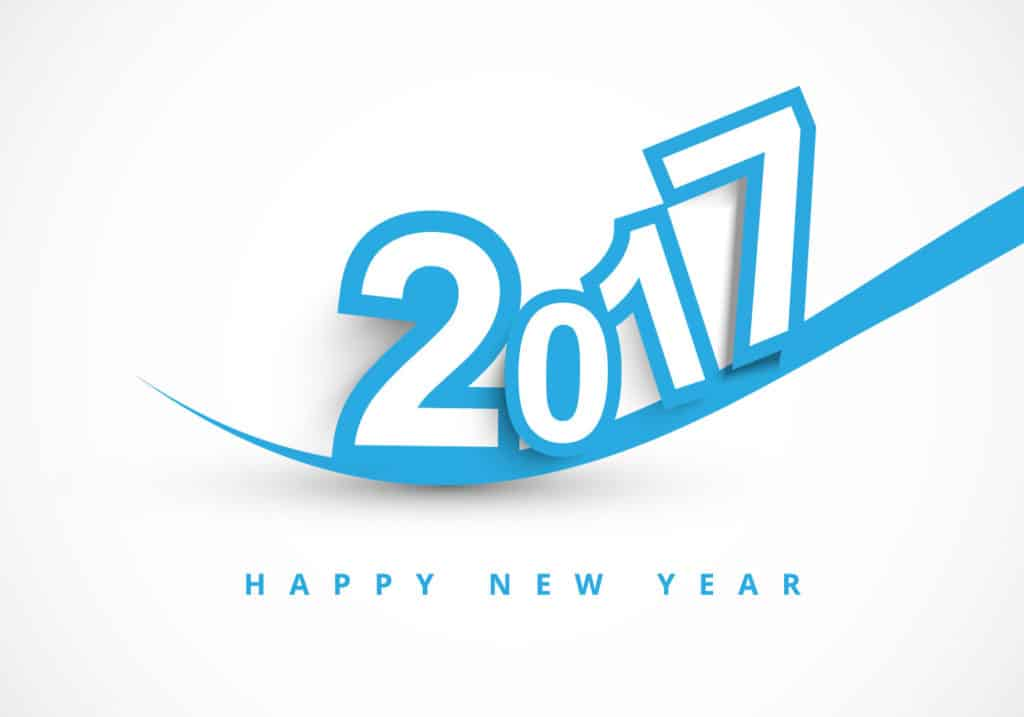 Happy New Year 2017 with sliding blue style