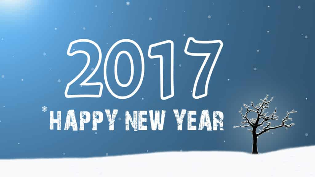Happy New Year 2017 with tree and snowfall