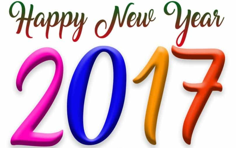 Happy New Year 2017 with white background