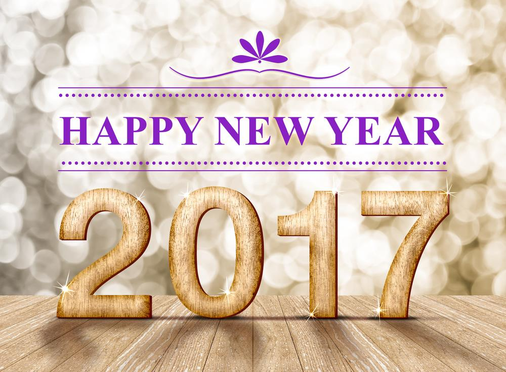 Happy New Year 2017 with wooden texture