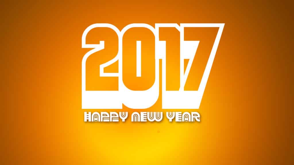 Happy New Year 2017 with yellow background