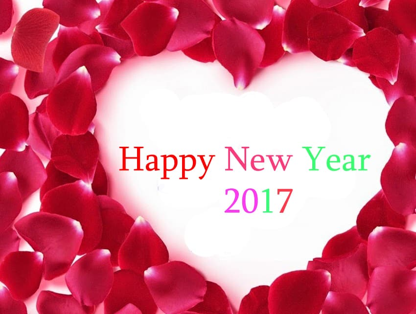 Happy New Year 2017 written inside heart of rose petals