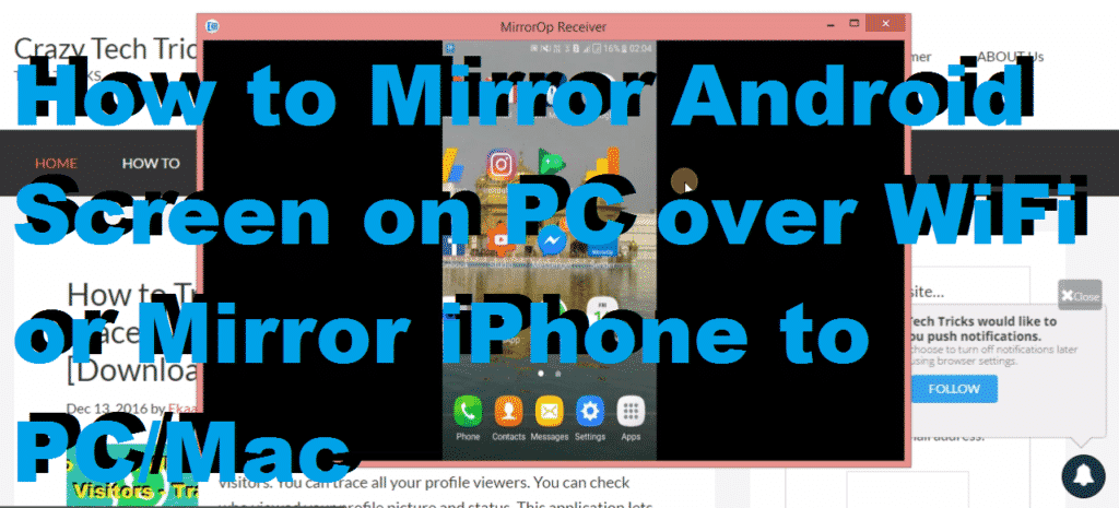 How to mirror android screen on pc over wifi or mirror for Mirror your android screen to a pc