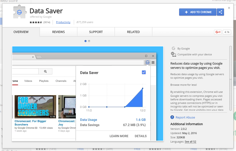 Data Saver Google Chrome Extension to make Google Chrome faster