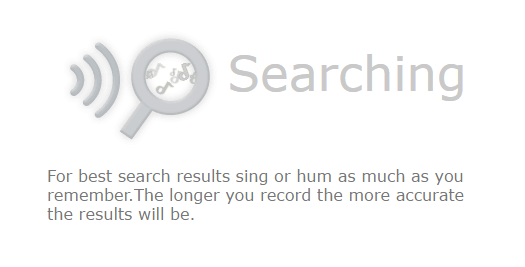 Midomi will start searching your song to find Song Recognition Online