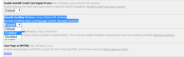 Smooth Scrolling to make Google Chrome faster