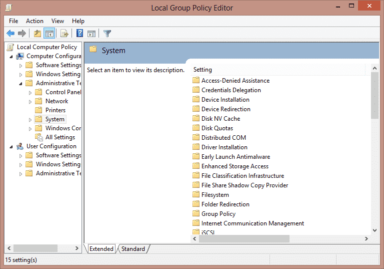 """System"""" select """"Logon to Use Local Group Policy Editor to Disable Fast User Switching On Windows 7, 8, 8.1 and 10"""