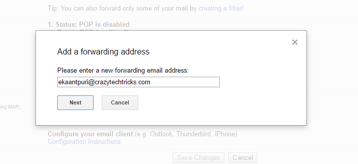 enter the Email Address on the email which you want to forward messages