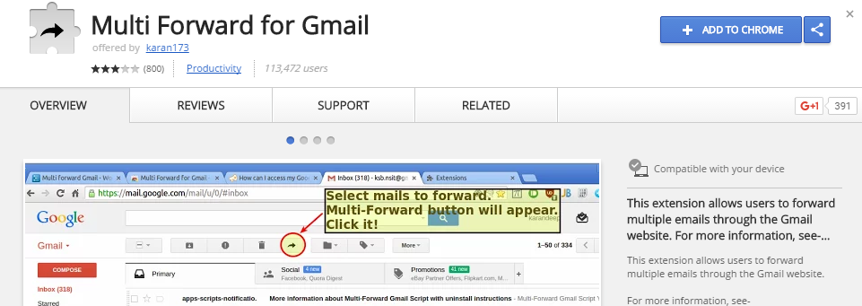 install the extension Multi Forward To Gmail