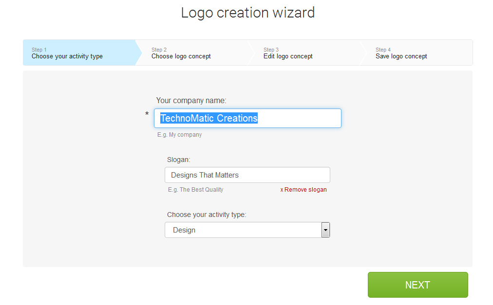 Logaster begins with an automatic algorithm for designing your logo. You don't need to have any designing skills to create your log