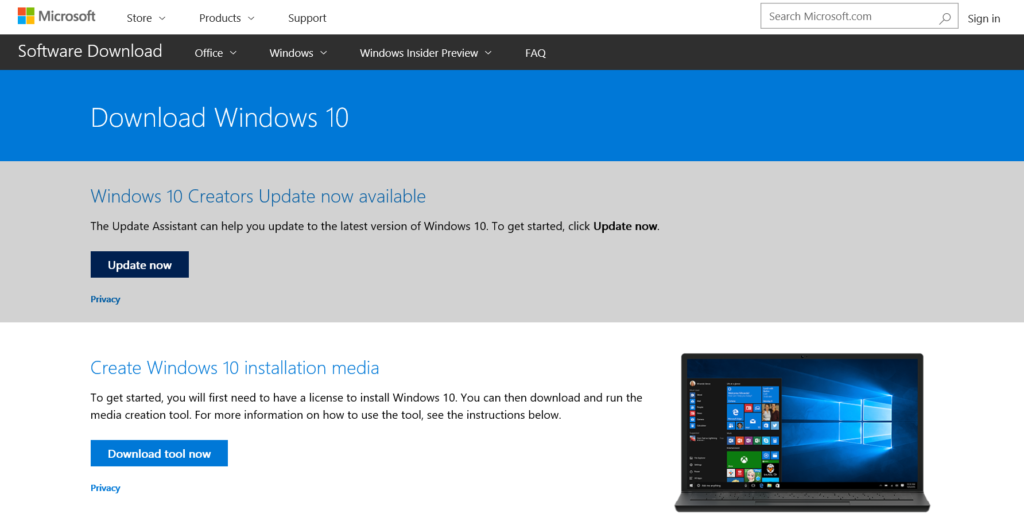Download Windows 10 Creators Update from website