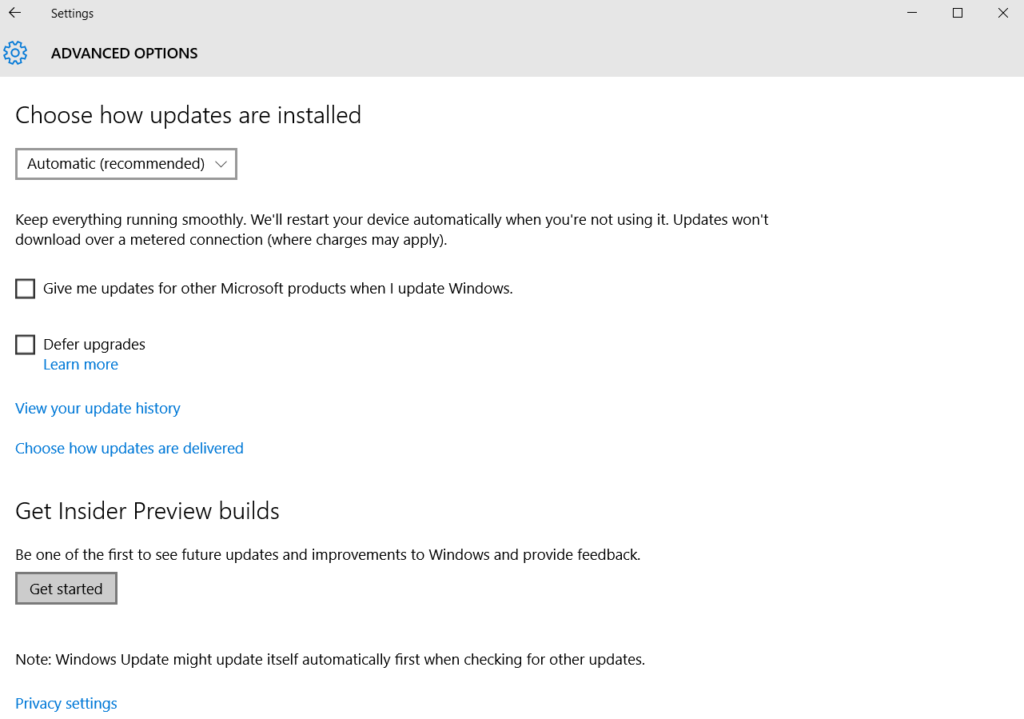"Select ""Get Started"" under the Windows Insider Preview Builds."