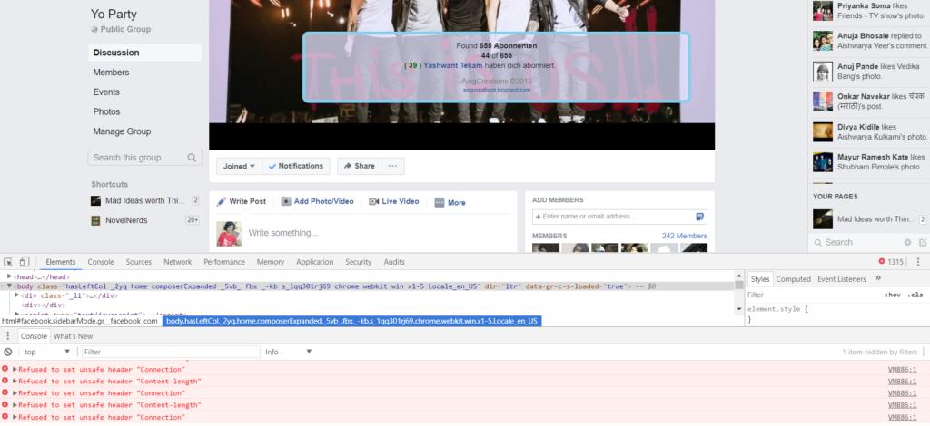 Facebook Group Members Adding Script