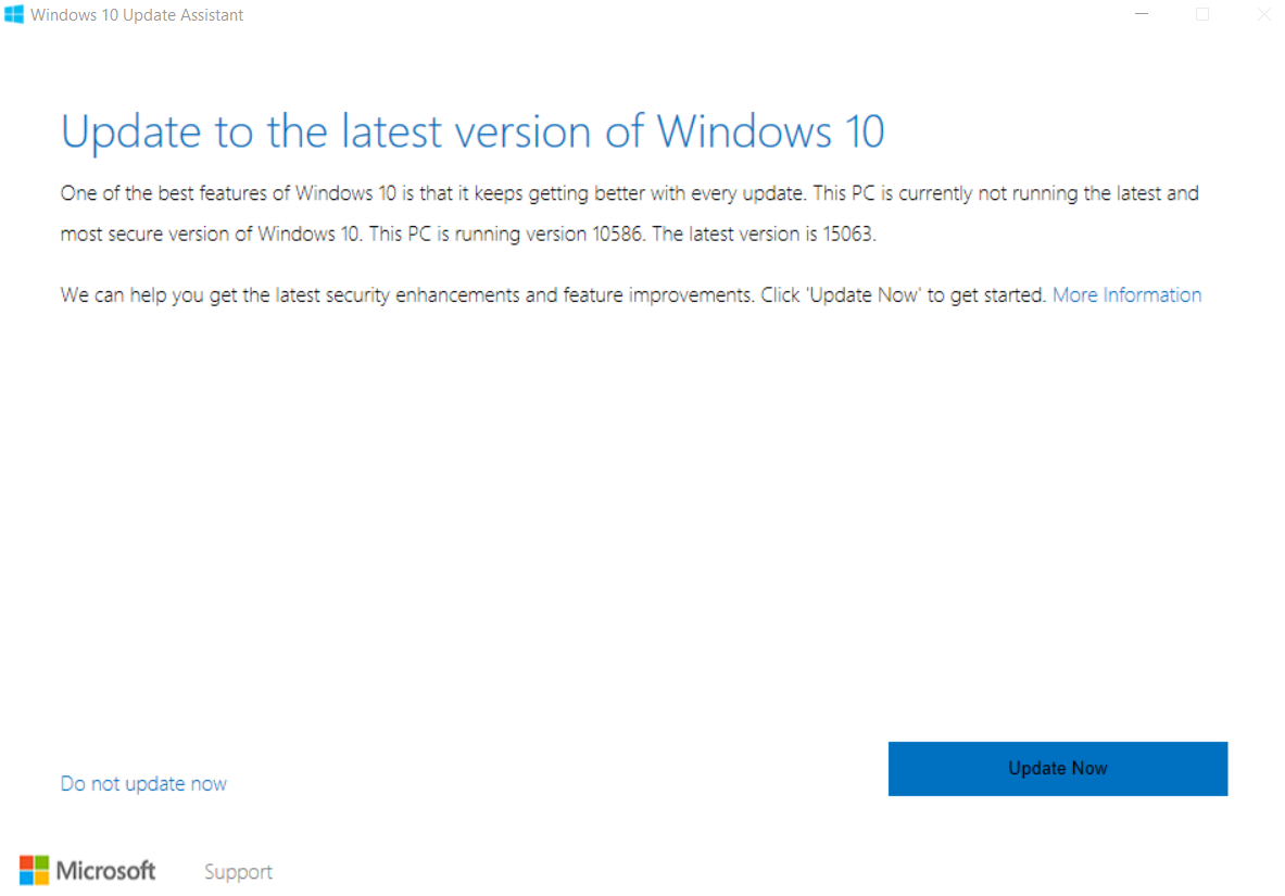 Update to the latest version of Windows 10