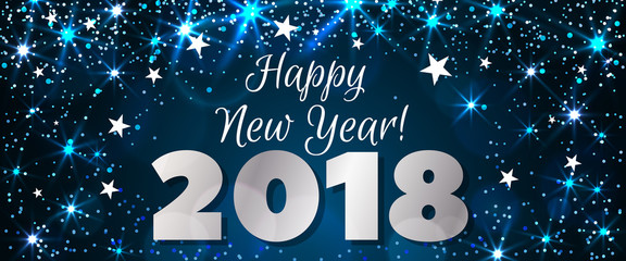 Happy New Year 2018 Awesome Blue Creativity