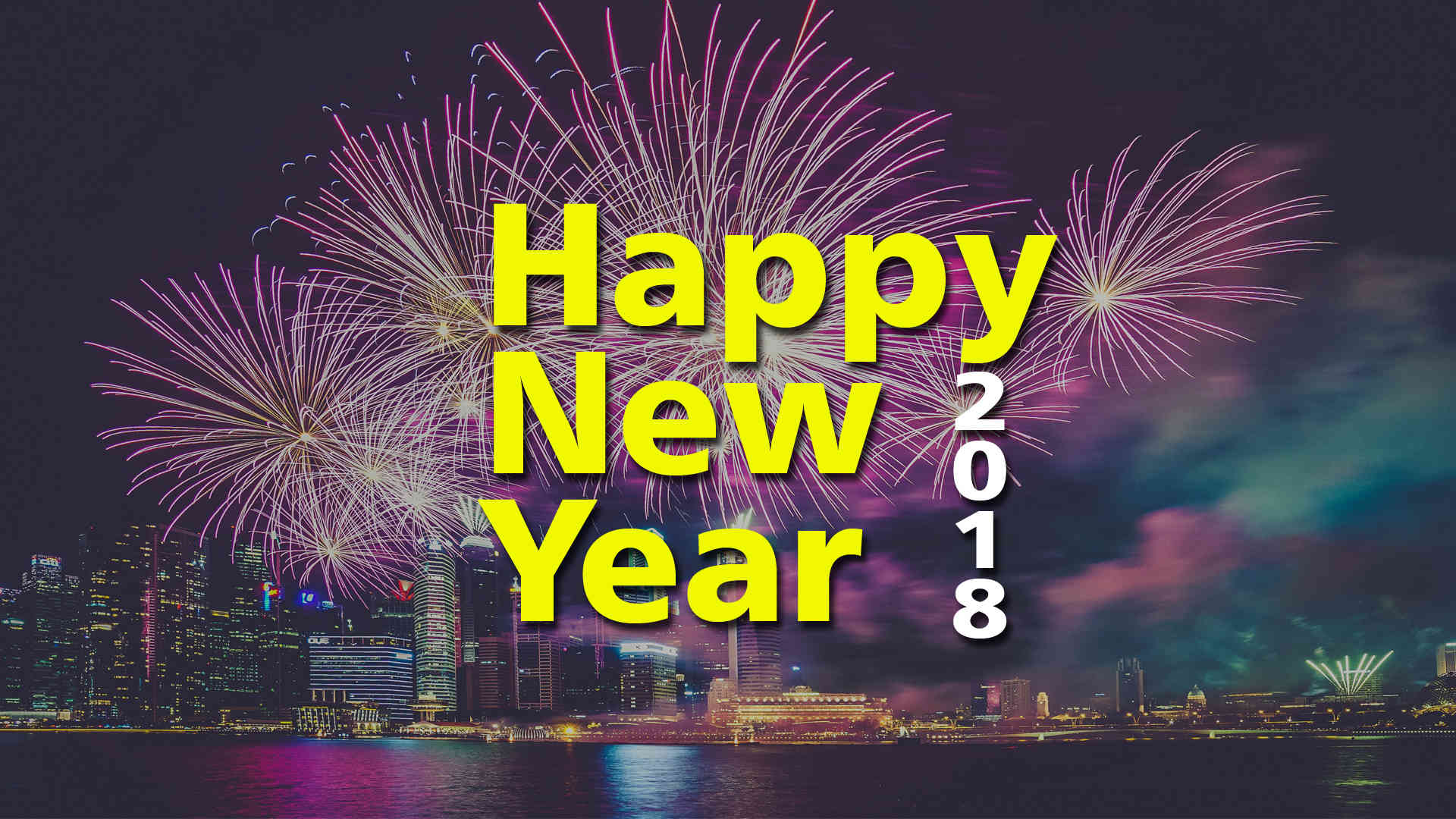 Happy New Year 2018 Awesome Yellow Lights