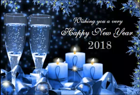 Happy New Year 2018 Blue Ice Candles
