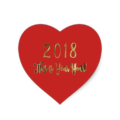Happy New Year 2018 Heart Shape love