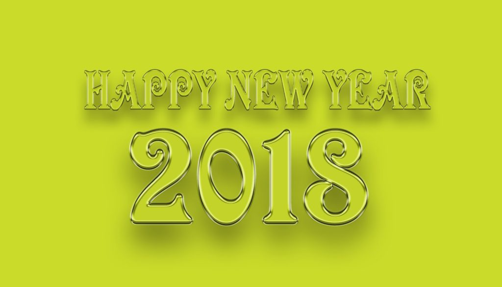 Happy New Year 2018 Yellow Awesome Artwork