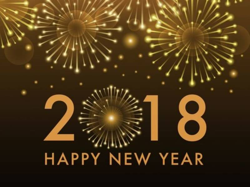 Happy New Year 2018 dark yellow