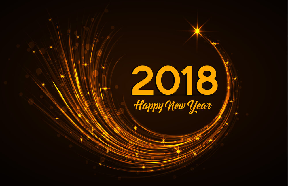 happy new year 2018 golden lines