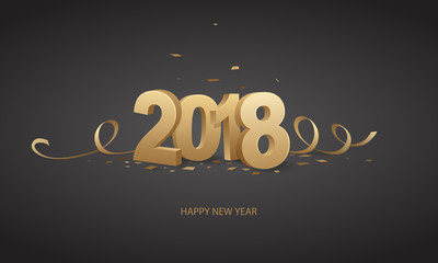 happy new year 2018 with black background