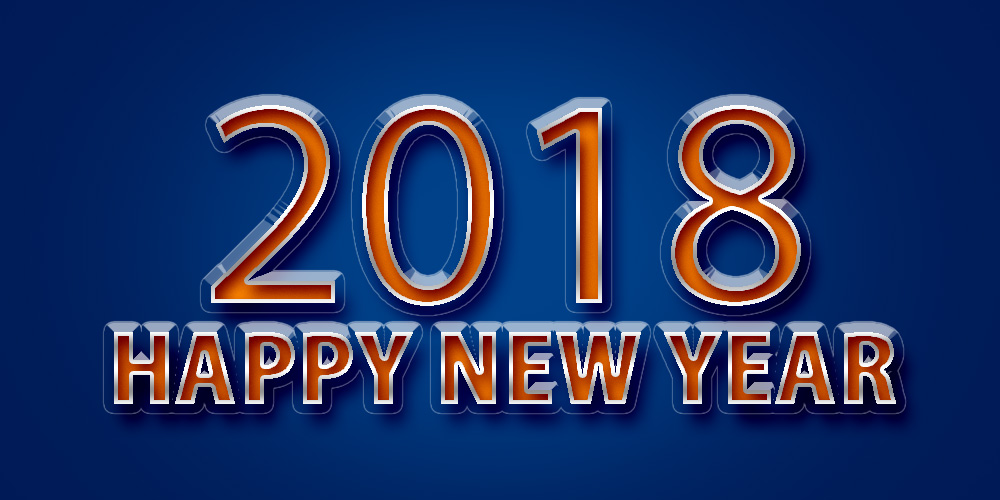 happy new year 2018 with blue background