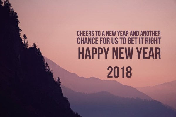 happy new year 2018 with cheers with a thought