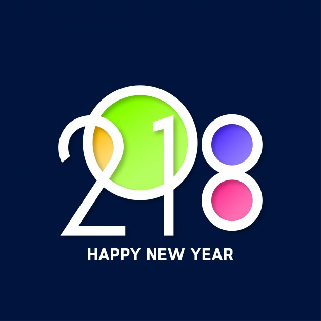 happy new year 2018 with color filled in letters