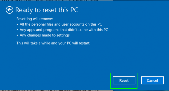 Ready to Reset this PC simply click Reset- How to Reset Windows 10 on PC-Laptop Without any Software- CD or Password