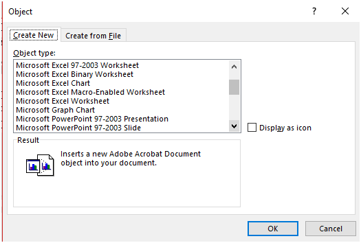 Select the spreadsheet type (Microsoft Excel Worksheet) of your choice from Object Type list - How to Make a Spreadsheet in Microsoft Word using Insert Object Function