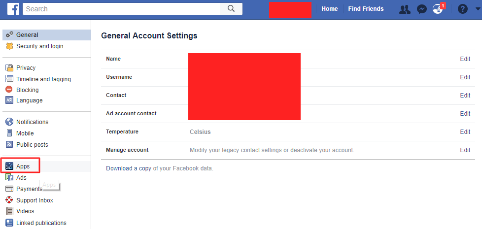 choose Apps option which is on the left side of that page - How to Stop Facebook From Sharing Your Data with a 3rd Party