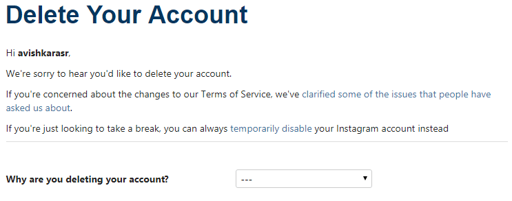 choose the reason for deleting your account - How to Delete an Instagram Account Permanently From Android, iPhone or Windows PC-Laptop