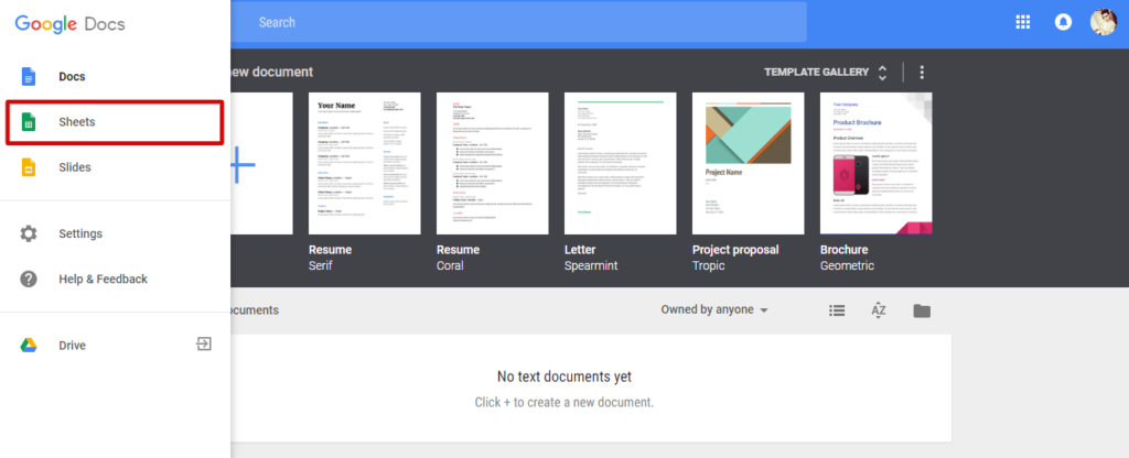 left side choose Google spreadsheet - How to Make a Spreadsheet in Google Docs - Best Method