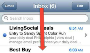 slide your finger in the emails list and reveal the search box icon - How to Search Email on iPhone Quickly - Best Method