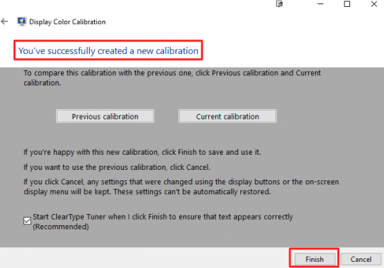 successfully created a new calibration - How to Calibrate the Monitor in Windows 10