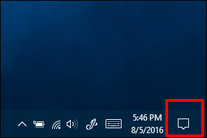 Open Action Center on your Windows 10 PC-Laptop - How to Get Wireless Display Windows 10
