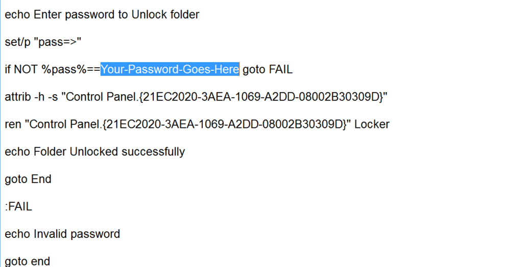 Your-Password-Goes-Here with your wishing password- How to Password Protect a Folder in Windows 10 – Best Method