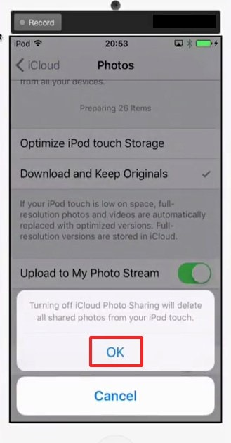 ask for the confirmation - Using iCloud Sharing Setting- How to Delete Photos From iCloud – Best Method to Remove Photos