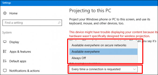 click Everytime a connection is requested - How to Get Wireless Display Windows 10