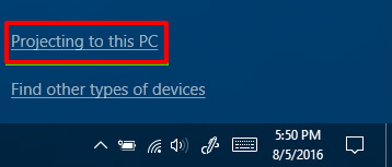 click Projecting to this PC - How to Get Wireless Display Windows 10
