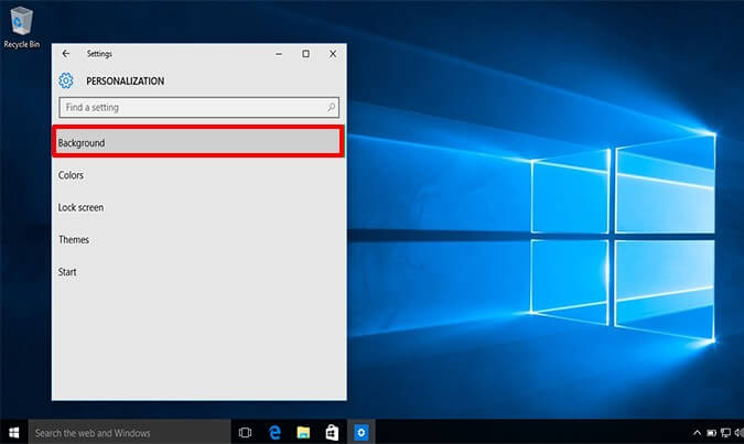 click on Background option - How to Change Your Windows 10 Background Pictures