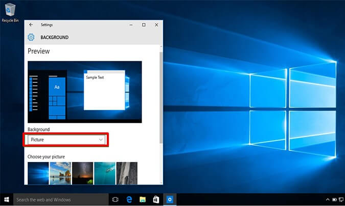 click on Background option- How to Change Your Windows 10 Background Pictures