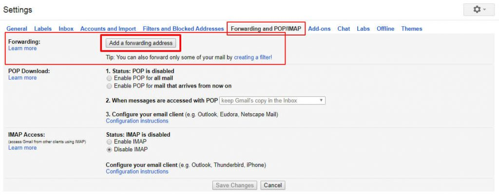 How to Use Gmail With Outlook 2007, 2010 – Top 3 Best Methods - Method 3 – By Email Forwarding - click on Forwarding and POP-IMAP tab.